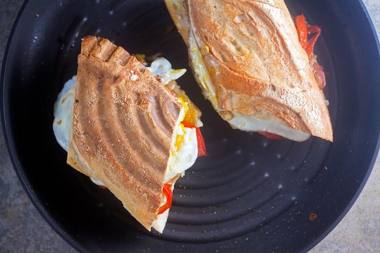 Spanish Breakfast Panini with Chorizo and Egg // @HealthyDelish