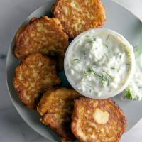 Zucchini Fritters with Tzatziki // @HealthyDelish