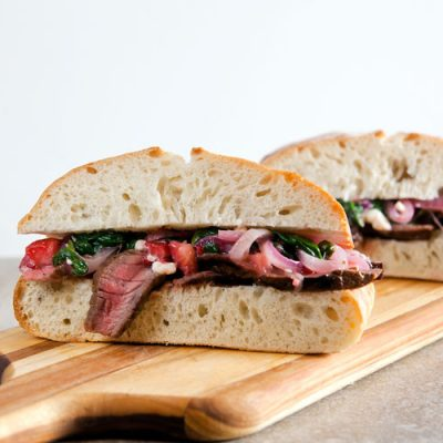 Steak Sandwiches with Spinach + Strawberry Salad