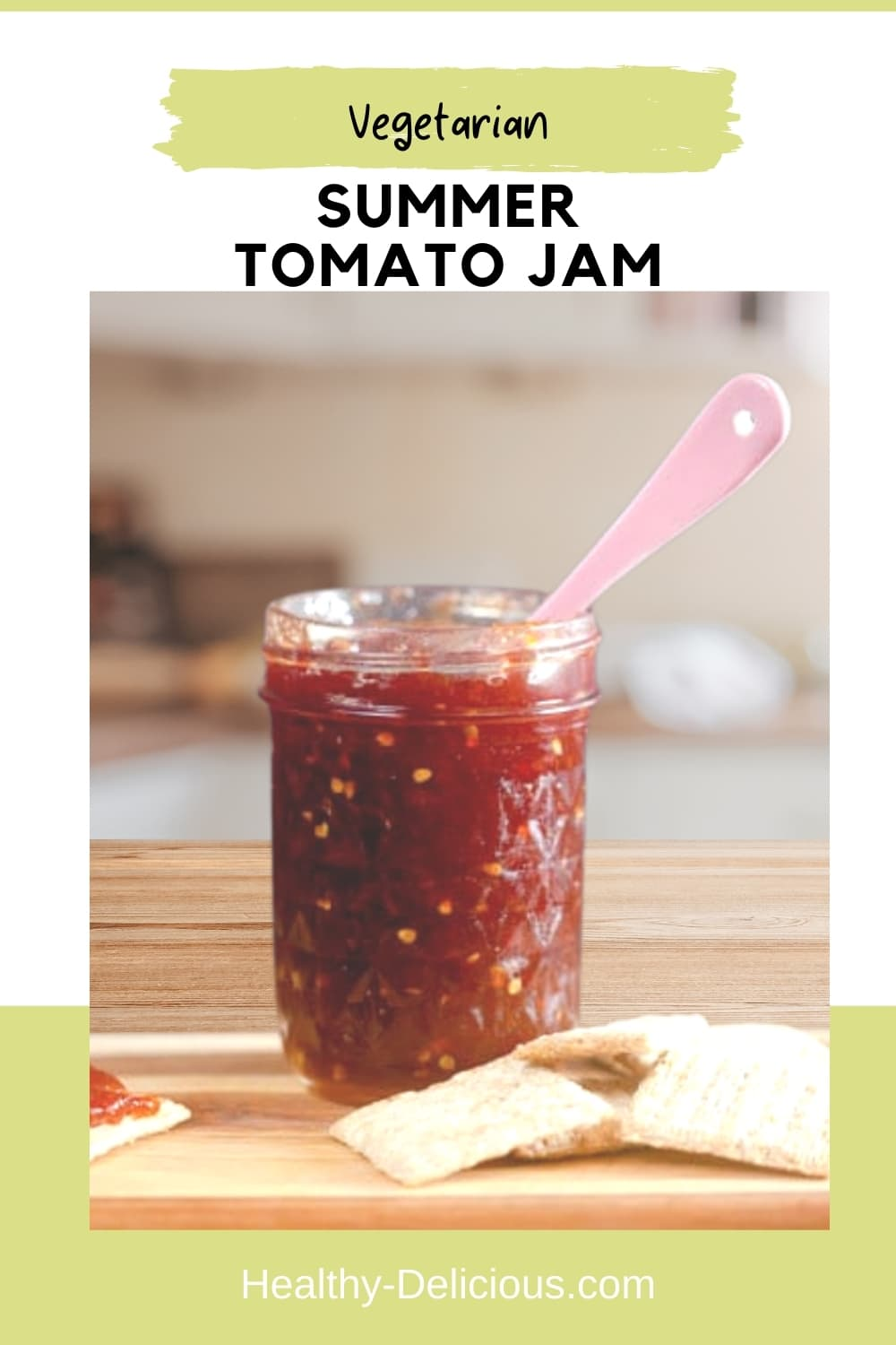 Summer Tomato Jam bottles up the all the delicious flavor of ripe summer tomatoes so you can enjoy it year-round. It's delicious on a cracker with cheese, slathered onto a burger, or by the spoonful! via @HealthyDelish