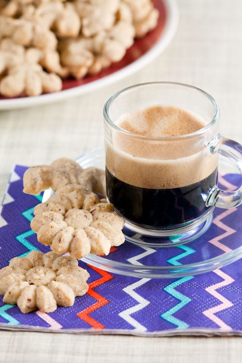 Coffee-Hazelnut Spritz Cookies | @HealthyDelish