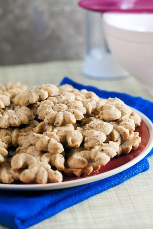 Coffee-Hazelnut Spritz Cookies   @HealthyDelish
