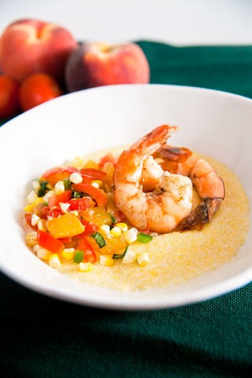 Soft-Polenta-with-Shrimp-and-Peach-Salsa-1