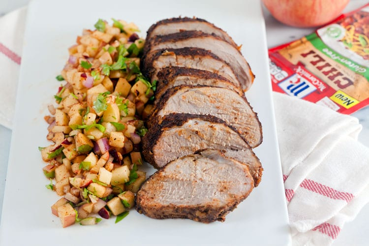 Chili Rubbed Pork Loin with Apple Salsa #glutenfree #holiday #weeknight