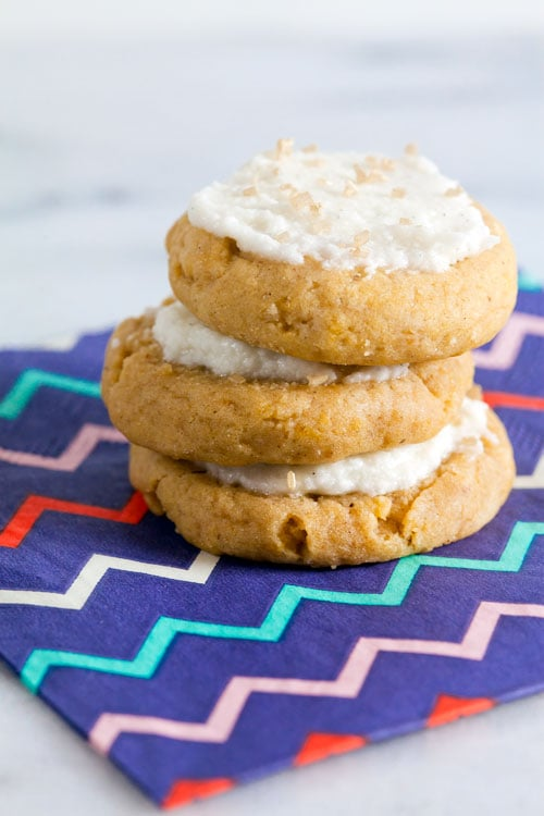 Super Soft Pumpkin Cookies with Vanilla Bean Frosting (Egg Free)