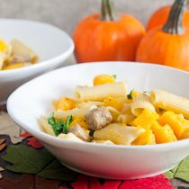 Rigatoni with Pumpkin, Fennel and Maple Sausage