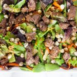 Steak + Wasabi Pea Salad with Hoisin Vinaigrette