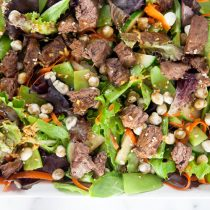 Steak and Wasabi Pea Salad with Hoisin Vinaigrette {Gluten Free}
