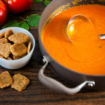 Creamy Tomato Basil Soup with Cheddar Walnut Crackers