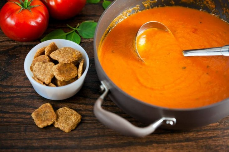 Creamy Tomato Basil Soup with Cheddar Walnut Crackers 1