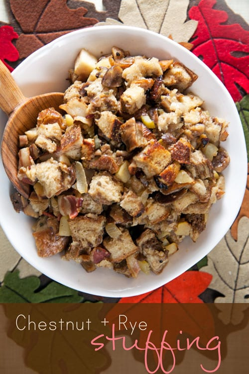 Chestnut and Rye Stuffing with Jones Bacon
