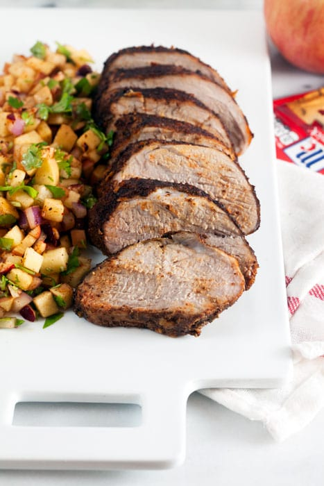 Chili Rubbed Pork Loin with Apple Salsa - A 30 minute meal thats just as appropriate as part of a holiday spread as it is for a weeknight.