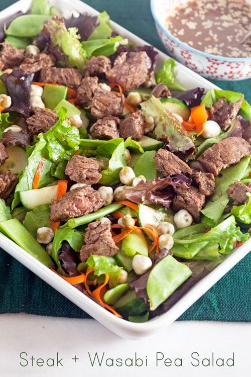 Steak and Wasabi Pea Salad with Hoisin Vinaigrette {Gluten Free}