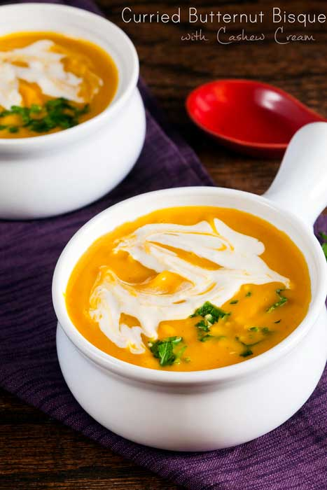 Curried Butternut Squash Bisque with Cashew Cream // @HealthyDelish