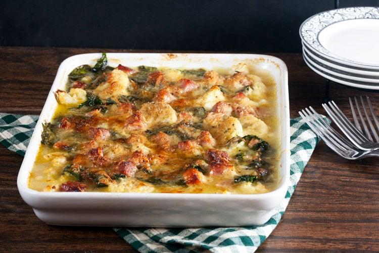 Cauliflower and Chard Gratin with Ham