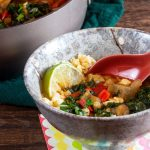 "Red Curry Eggplant and Kale Over Cauliflower ""Rice"""