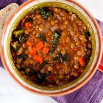 Lentil and Kale Soup with Sausage // @HealthyDelish