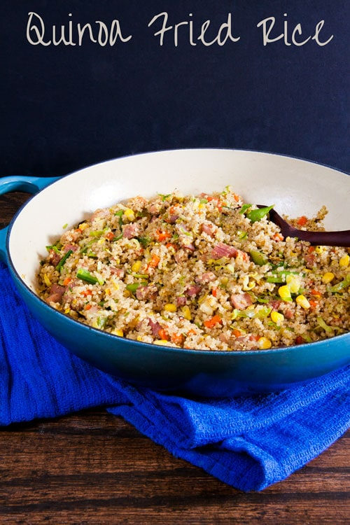 Quinoa Fried Rice is an easy and healthy weeknight meal. Make it with leftover holiday ham!