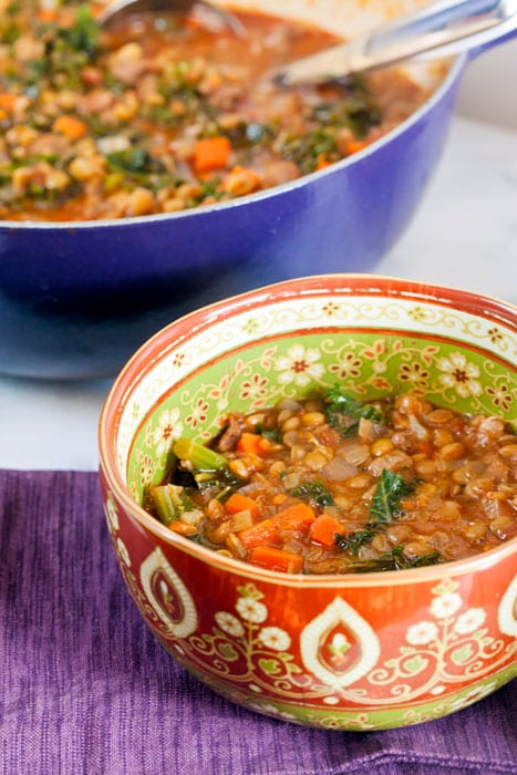 Lentil and Kale Soup with Merguez // @HealthyDelish  #soup #lentils #cleaneating