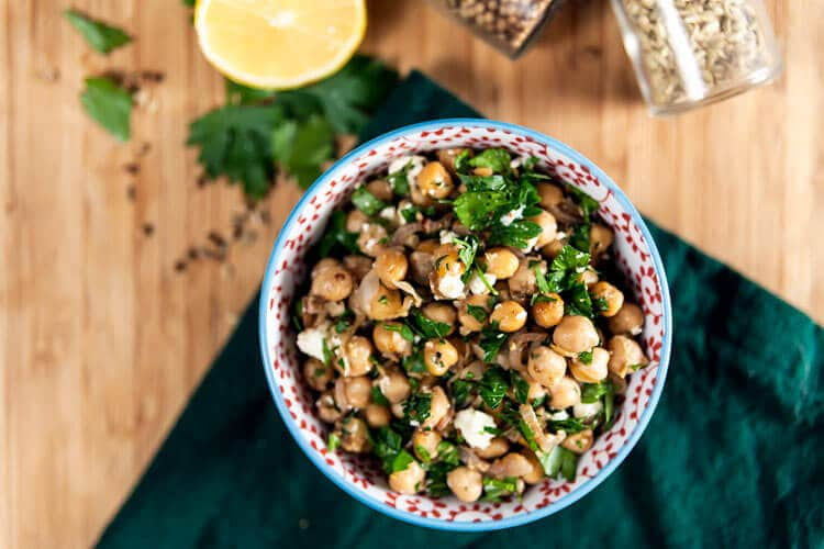 Warm Spiced Chickpeas with Preserved Lemon and Feta