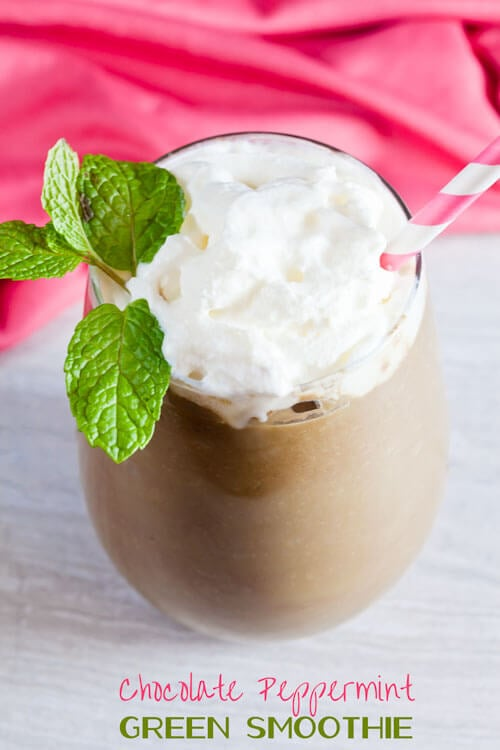 Chocolate Peppermint Green Smoothies are healthy enough for breakfast and tasty enough for dessert!