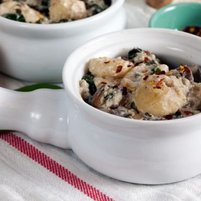 Baked Gnocchi with Spinach and Mushrooms (Dairy Free)