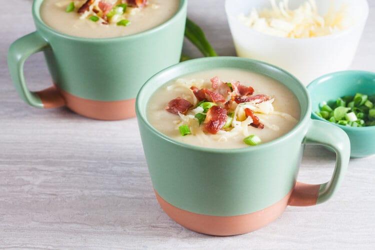 Lighter Loaded Baked Potato Soup | @HealthyDelish