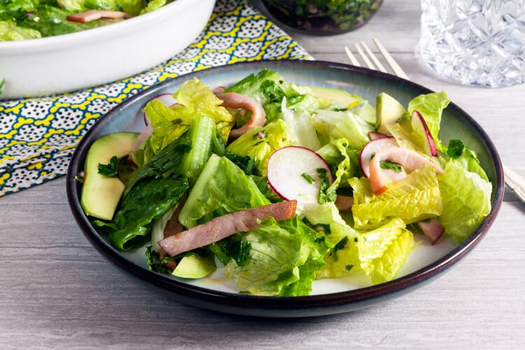 Canadian Bacon and Avocado Salad with Chimichurri Dressing