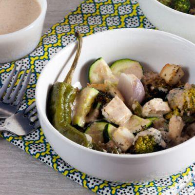 Roast Vegetable Bowls with Tahini-Almond Sauce