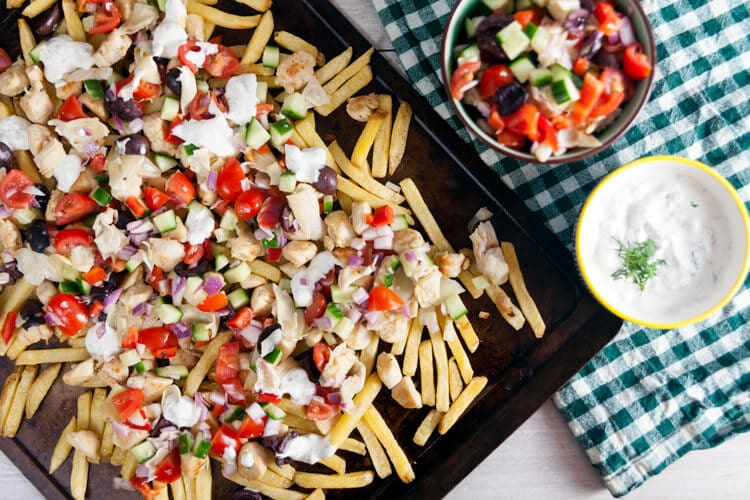 Easy Loaded Greek Fries Recipe with Chicken