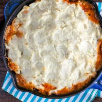 Buffalo Chicken Shepherd's Pie with Blue Cheese Cauliflower Mash