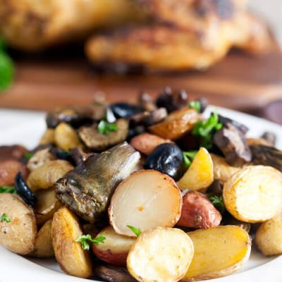 Roast Potatoes with Artichokes, Mushrooms, and Olives