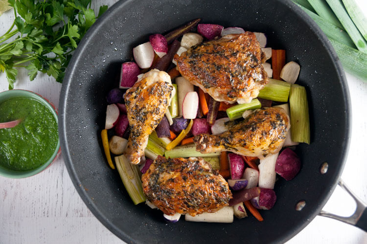 Pan-Roast Chicken and Spring Vegetables with Salsa Verde