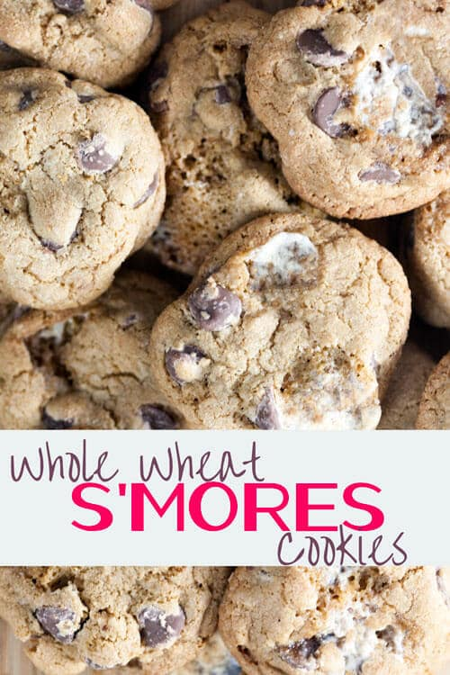 Healthy Whole Wheat S'mores Cookies with Coconut Oil