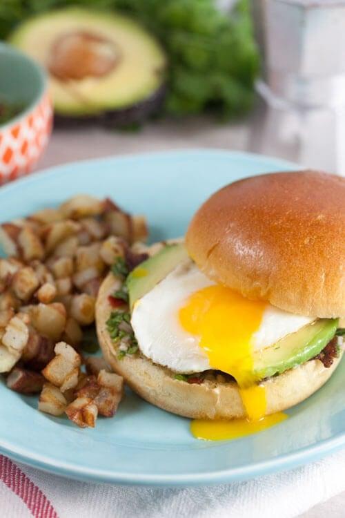 Chimichurri Breakfast Sandwich with Coffee-Glazed Bacon