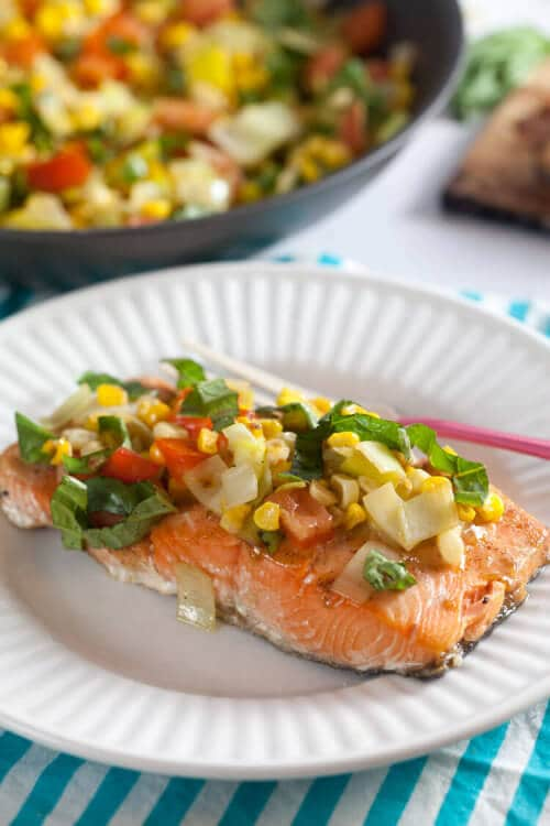 Maple-Mustard Salmon with Corn and Basil