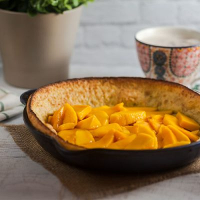 Vanilla + Lime Dutch Baby with Fresh Mango