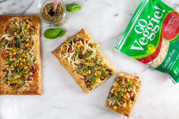 Puff Pastry Pizza with Summer Vegetables + Pesto