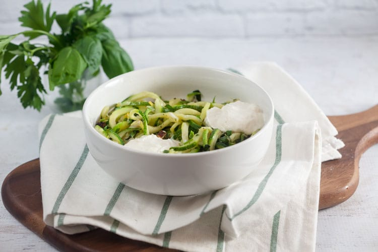Zucchini Noodles with Fresh Herbs + Toasted Hazelnuts
