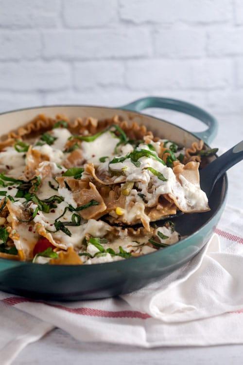 Summer Vegetable Skillet Lasagna (Whole Grain)