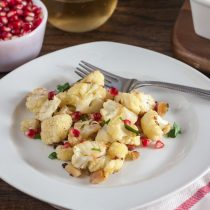 Roast Cauliflower with Lemon, Almonds and Pomegranate