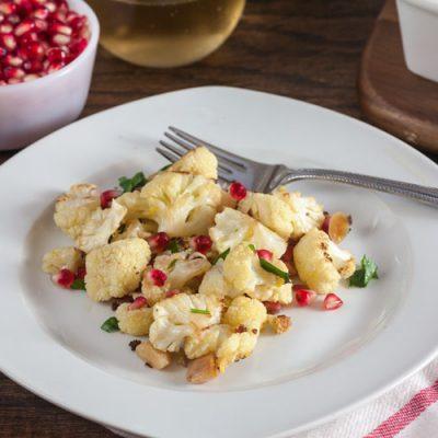 Roast Cauliflower with Lemon, Almonds + Pomegranate