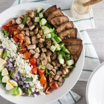 Mid East Cobb Salad with Hummus Dressing and Za'atar Pita Wedges