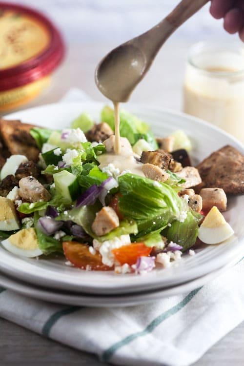 Mid East Cobb Salad with Hummus Dressing and Za'atar Pita Wedges
