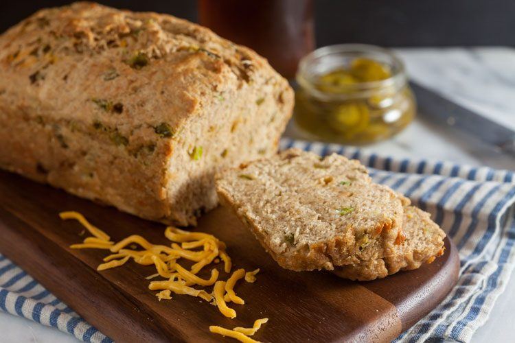 Next time you make soup, be sure to throw a loaf of this Jalapeño Cheddar Beer Bread into the oven. It's ready in under an hour and so easy to make!
