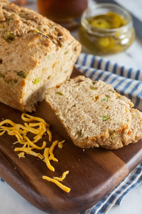 Next time you make soup, be sure to throw a loaf of this Jalapeño Cheddar Beer Bread into the oven. Ready in under an hour and so easy to make!