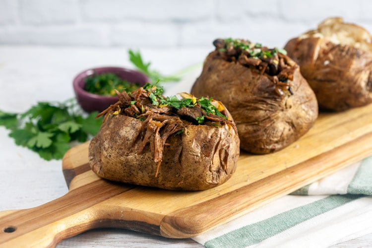 Pot Roast Stuffed Baked Potatoes with Gremolata