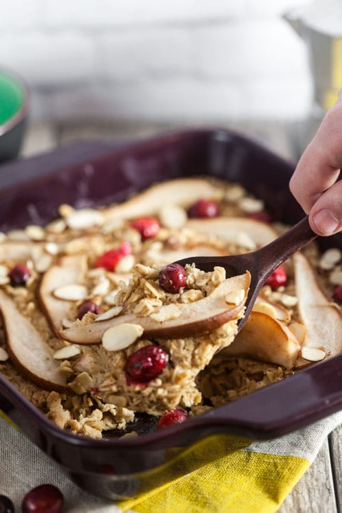 Baked Oatmeal with Amaretti Biscotti Cookie Butter, Pears, and Cranberries