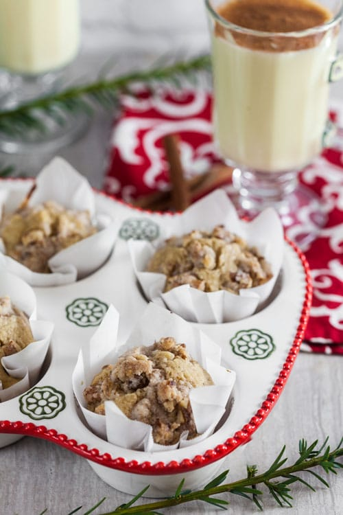 Eggnog Latte Muffins with Walnut Streusel Topping (Dairy Free)