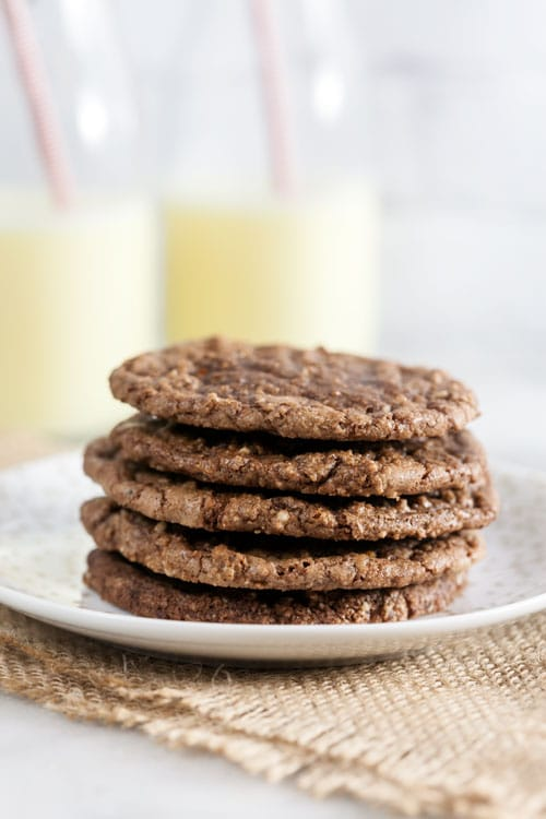 Super simple flourless chocolate hazelnut cookies are made with just four ingredients are bursting with the flavor of your favorite chocolate hazelnut spread.